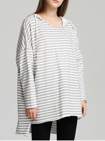 Latest Drawstring Striped High Low Hem Hoodie