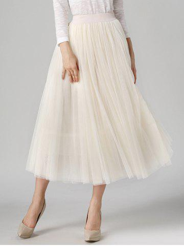Cheap Tulle High Waist Midi Skirt
