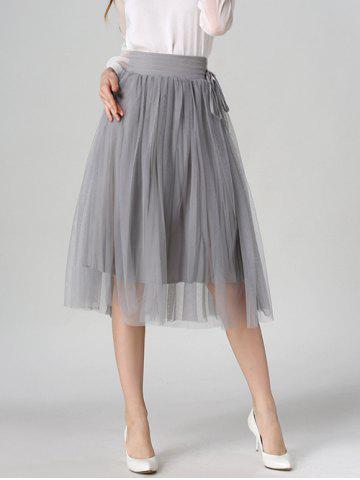 Affordable Tied-Up Shirred Blush Tulle A-Line Skirt