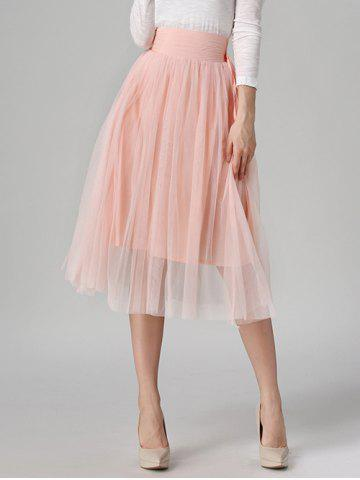 Store Tied-Up Shirred Blush Tulle A-Line Skirt