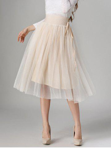Buy Tied-Up Shirred Blush Tulle A-Line Skirt