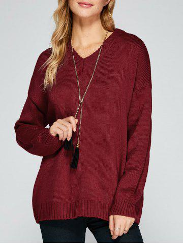Affordable V Neck Drop Shoulder Loose Sweater DEEP RED ONE SIZE