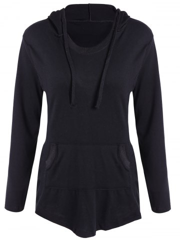 Latest Drawstring Pocket Embellished Hoodie BLACK XL