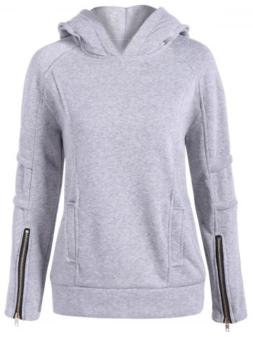 Chic Classic Zip Pullover Hoodie LIGHT GRAY 2XL
