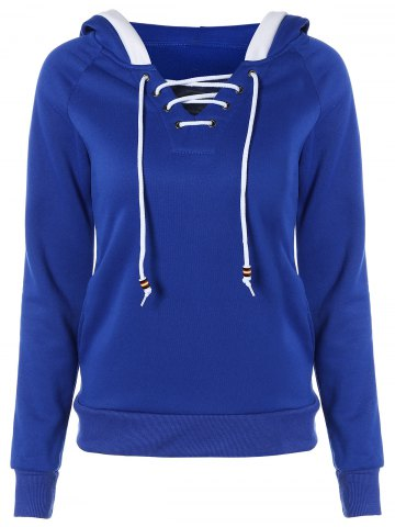 Discount Lace Up Contrast Hoodie BLUE 2XL