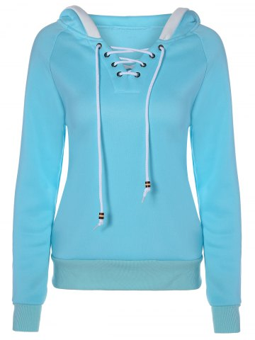 Lace Up Contrast Hoodie