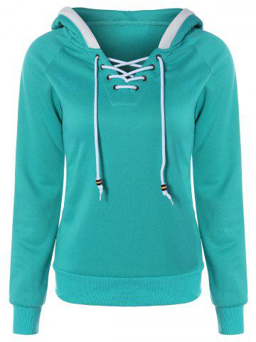 Shops Lace Up Contrast Hoodie GREEN XL