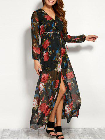 Affordable Chiffon Floral Maxi Split Sheer Kimono Wrap Dress BLACK S