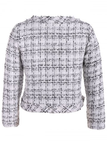 Discount Plus Size Open Front Tweed Jacket - 2XL WHITE Mobile