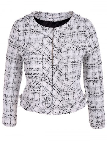 Chic Plus Size Open Front Tweed Jacket - 2XL WHITE Mobile