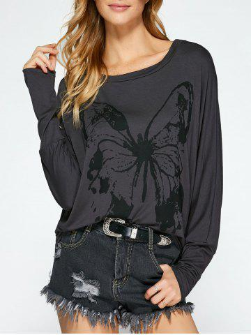 Affordable Butterfly Print Batwing Sleeve T-Shirt
