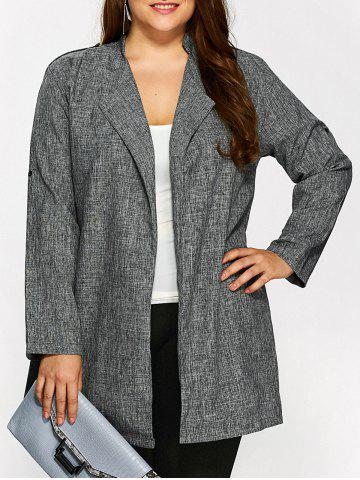 Plus Size Open Front Ruffle Coat - Gray - 3xl