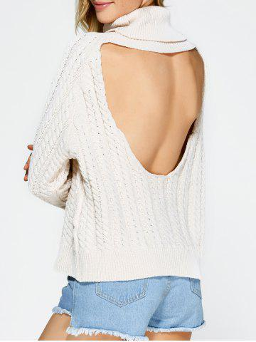 Sale Turtleneck Open Back Sweater OFF-WHITE ONE SIZE