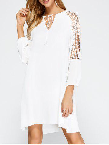 Hot Casual Openwork Lace Insert Dress with Sleeves WHITE XL