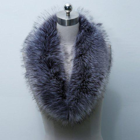 Unique Faux Fur Collar Scarf PURPLISH BLUE