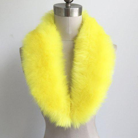 Faux Fur Collar Scarf - Yellow - 17