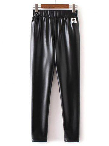 Shops Applique Faux Leather Pants BLACK XL