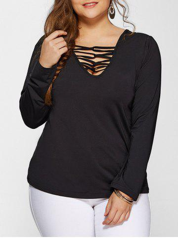 Unique Plus Size Long Sleeves Tee BLACK 4XL