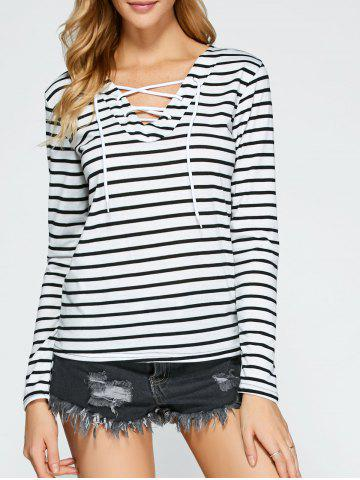 Hot Lace Up Long Sleeve Striped T-Shirt WHITE XL