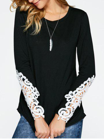 Trendy Lace Insert Long Sleeve T-Shirt BLACK XL