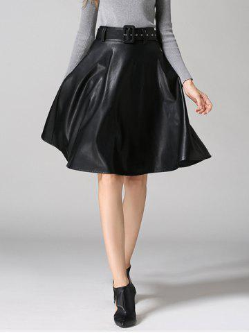 PU Leather Belted A-Line Skirt - Black - S