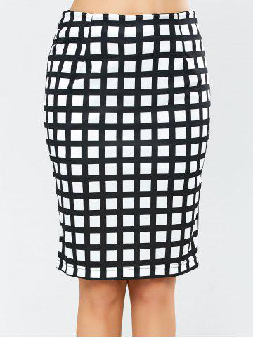 Sale Grid Knee Length Plaid Pencil Skirt