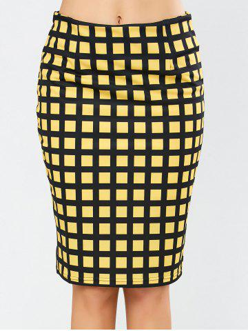 Grid Knee Length Plaid Pencil Skirt - Yellow - S