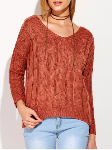 Unique Cross Back V Neck Drop Shoulder Sweater