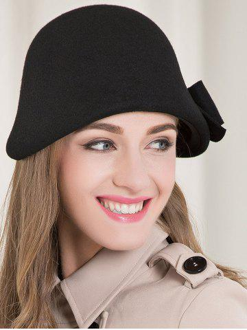 Store Bowknot Wool Dome Cloche 1920s Hat BLACK