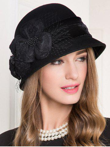 Buy Lace Floral Wool Dome 1920s Fedora Hat BLACK