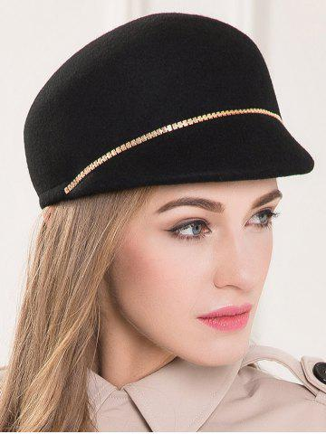 Outfit Wool Felt Chain Embellished Beret Hat