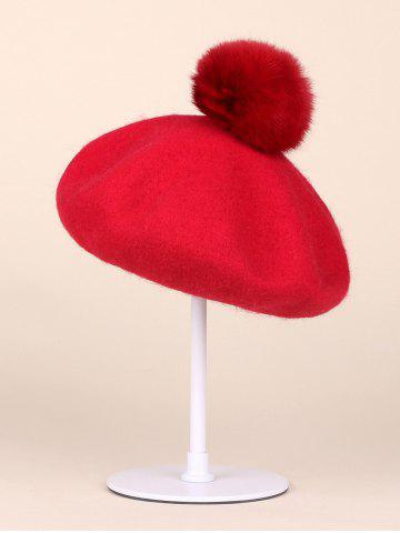 Discount Soft Wool Fuzzy Ball Beanie Beret Hat