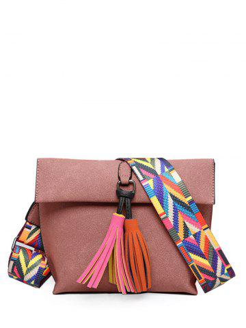 Outfit Colour Block Tassels Magnetic Closure Crossbody Bag