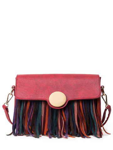 Best Textured Leather Fringe Covered Closure Crossbody Bag