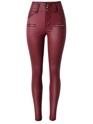 Discount Faux Leather Rise Waist Skinny Pants