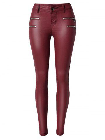 Fashion Zippers Faux Leather Low  Rise Pants WINE RED S