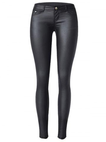 Store Low Waist Faux Leather Skinny Pants
