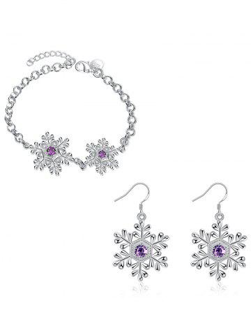 Latest Artificial Amethyst Snowflake Christmas Bracelet and Earrings