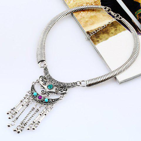 Best Bohemian Rhinestone Beads Moon Necklace SILVER/BLUE