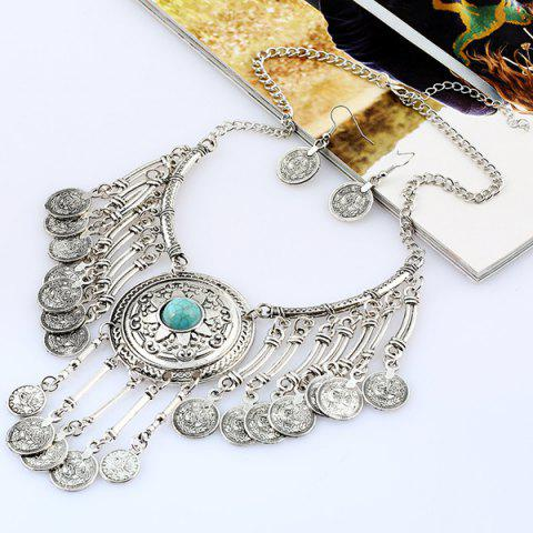 Online Vintage Coins Pendant Necklace and Earrings