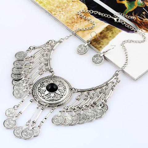 Unique Vintage Coins Pendant Necklace and Earrings - SILVER AND BLACK  Mobile