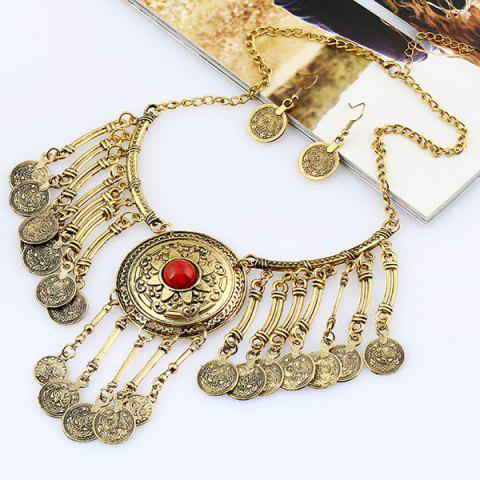 Vintage Coins Pendant Necklace and Earrings - GOLD/RED