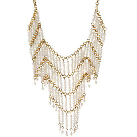 Fancy Artificial Pearl Beads Geometric Necklace WHITE