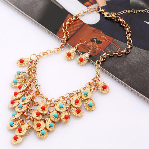 Hot Bohemian Beads Necklace and Earrings - GOLDEN  Mobile