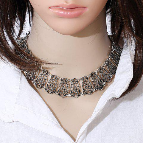 Affordable Hollow Out Alloy Choker Necklace SILVER