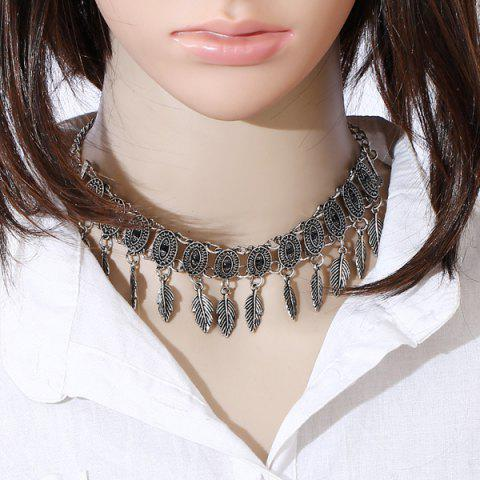 Store Alloy Oval Tree Leaf Choker Necklace SILVER