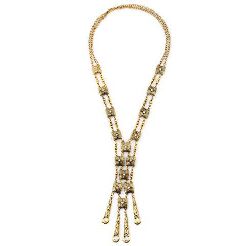 Cheap Rhinestone Alloy Geometric Necklace GOLDEN