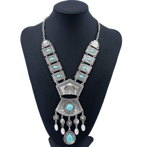 Chic Bohemian Rhinestone Geometric Water Drop Necklace SILVER AND BLUE
