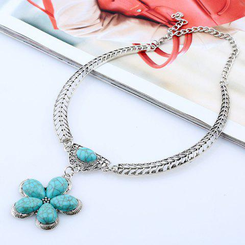 Trendy Vintage Artificial Gem Flower Necklace SILVER AND BLUE