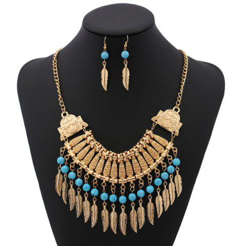 Best Bohemian Leaf Necklace and Earrings GOLDEN